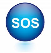 picture of sos  - SOS blue circular button on white background - JPG