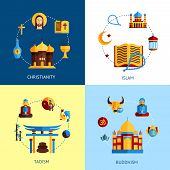 image of taoism  - Religion design concept set with christianity islam taoism buddhism flat icons isolated vector illustration - JPG