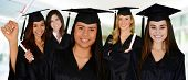 picture of graduation gown  - Graduation of a group of women dressed in a black gown - JPG