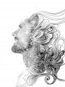 pic of combine  - Double exposure portrait of attractive man combined with hand drawing - JPG
