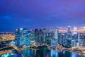 image of singapore night  - Skysrapers in Singapore during night hours - JPG