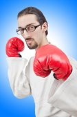 picture of karate  - Karate fighter isolated on the white - JPG