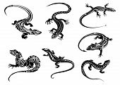 image of lizards  - Black lizards reptiles with long curved tails decorated geometric ornament in tribal style suitable for tattoo or mascot design - JPG
