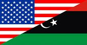 pic of libya  - united states of america and libya half country flag - JPG