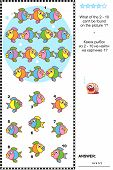 picture of not found  - Colorful fish visual logic puzzle - JPG
