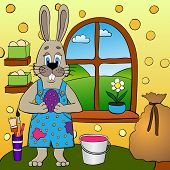 picture of hare  - Easter cartoon greeting card with hare painting eggs - JPG