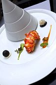picture of lobster tail  - Lobster tail and spicy sauces in a stylish plate - JPG