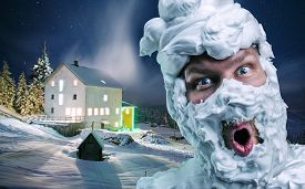 pic of shaved head  - Surprised strange man with shaving foam on his face and on his head over winter background - JPG