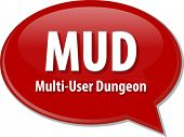picture of dungeon  - Speech bubble illustration of information technology acronym abbreviation term definition MUD Multi User Dungeon - JPG