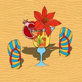 picture of sand lilies  - Set of summer flip flops and cocktail on hot sand - JPG