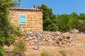 stock photo of stone house  - Typically rural landscape of Corsica France - JPG