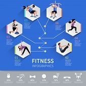 picture of step aerobics  - Fitness aerobic and muscle strength development program hexagon pictograms  infographic presentation layout design abstract isolated vector illustration - JPG