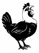 image of roosters  - Illustration of a rooster cockerel chicken crowing - JPG