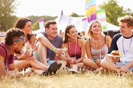 image of eat grass  - Friends sitting on grass and eating at music festival - JPG