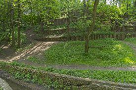 image of ravines  - Terraces reinforcing the of the Golosov ravine in Kolomenskoye park in Moscow - JPG