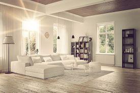 foto of monochromatic  - Modern loft living room interior with monochromatic white decor - JPG