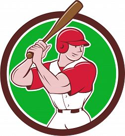 picture of bat  - Illustration of an american baseball player batter hitter with bat batting stance viewed from side set inside circle done in cartoon style isolated on background - JPG