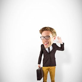 image of nerds  - Nerd smiling and waving against white background with vignette - JPG
