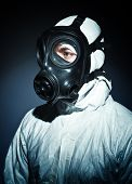 stock photo of s10  - fine portrait of man with classic mask gas - JPG