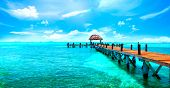 Exotic Paradise. Travel, Tourism and Vacations Concept. Tropical Resort. Caribbean sea Jetty near Ca poster