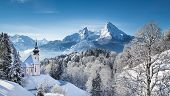 Panoramic View Of Beautiful Winter Landscape In The Bavarian Alps With Pilgrimage Church Of Maria Ge poster