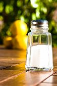 pic of salt shaker  - salt shaker on wooden table - JPG