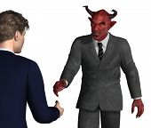 stock photo of immoral  - An unsuspecting businessman is about to shake hands with the devil  - JPG