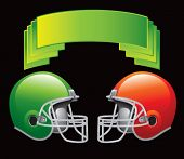 image of football helmet  - green crest with football helmets - JPG