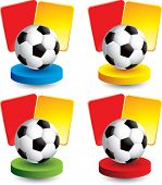 soccer ball and penalty cards on colored discs