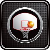 Постер, плакат: баскетбольное кольцо и спинодержатель на черном веб кнопку