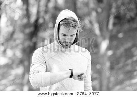 poster of Digital Fitness. Modern Fitness Is Digital. Man With Fitness Bracelet. Digital Marketing In Sport. D