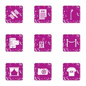 Voice Ad Icons Set. Grunge Set Of 9 Voice Ad Icons For Web Isolated On White Background poster