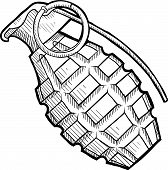 stock photo of grenades  - Doodle style pineapple hand grenade illustration in vector format - JPG