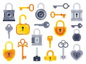 Lock With Keys. Golden Key, Access Padlock And Closed Safe Padlocks Isolated Flat Vector Set poster