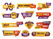 Retail Sale Tags. Cheap Price Flyer, Best Offer Price And Big Sale Pricing Tag Badge Design Isolated poster