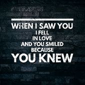 Love Quotes When I Saw You I Fell In Love And You Smiled Because You Knew poster