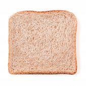 Bread Slice Isolated On White, Clipping Path. Slice Of Multigrain Bread Square Form For Toast. Image poster
