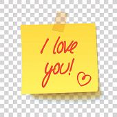 Yellow Sticky Note With Text - I Love You! Handwritten Inscription. Realistic Vector Illustration poster