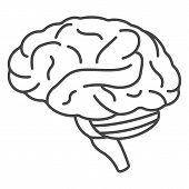 Human Brain Icon. Outline Human Brain Icon For Web Design Isolated On White Background poster