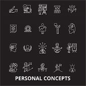 Personal Concepts Editable Line Icons Vector Set On Black Background. Personal Concepts White Outlin poster