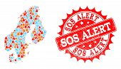 Composition Of Winter And Fire Map Of Scandinavia And Sos Alert Grunge Stamp Seal. Mosaic Vector Map poster
