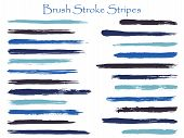 Hipster Ink Brush Stroke Stripes Vector Set, Indigo Horizontal Marker Or Paintbrush Lines Patch. Han poster