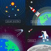 Universe Banner Set. Flat Illustration Of Universe Banner Set For Web Design poster