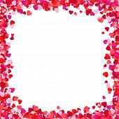 Color Paper Heart Frame Background. Heart Frame With Space For Text. Romantic Scattered Hearts Textu poster