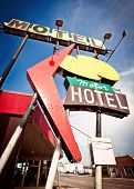 stock photo of road trip  - Old motel sign on Route 66 - JPG