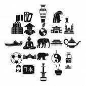 Traveling In Asia Icons Set. Simple Set Of 25 Traveling In Asia Icons For Web Isolated On White Back poster