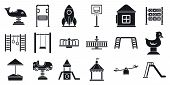 Outside Kid Playground Icon Set. Simple Set Of Outside Kid Playground Icons For Web Design On White  poster