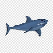 Blue Shark Icon. Cartoon Of Blue Shark Icon For Web Design poster