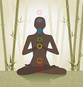 stock photo of kundalini  - illustration depicting the silhouette of a person seated in the lotus position with seven chakras - JPG