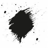 Paint Splatter Background. Grunge Distress Calligraphy Ink Stains. Black Ink Blow Explosion. Splatte poster